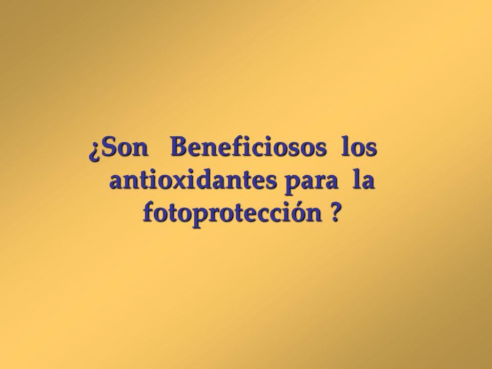 ¿Son Beneficiosos los antioxidantes para la fotoprotección ?
