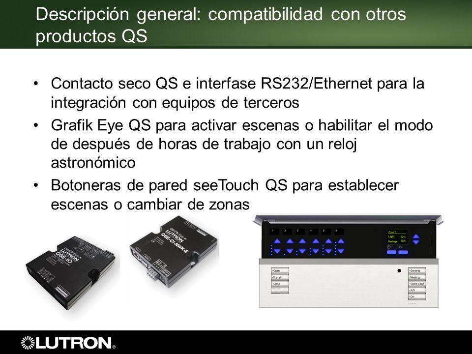 Descripción general: compatibilidad con otros productos QS Contacto seco QS e interfase RS232/Ethernet para la integración con equipos de terceros Gra