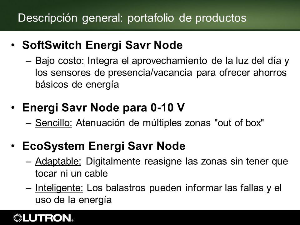 Descripción general: portafolio de productos SoftSwitch Energi Savr Node –Bajo costo: Integra el aprovechamiento de la luz del día y los sensores de p