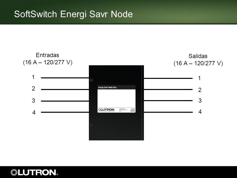 SoftSwitch Energi Savr Node Entradas (16 A – 120/277 V) 1 2 3 4 1 2 3 4 Salidas (16 A – 120/277 V)