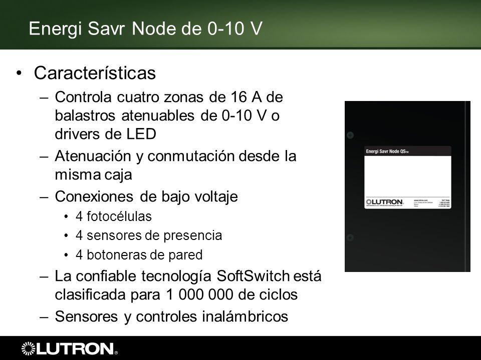 Energi Savr Node de 0-10 V Características –Controla cuatro zonas de 16 A de balastros atenuables de 0-10 V o drivers de LED –Atenuación y conmutación