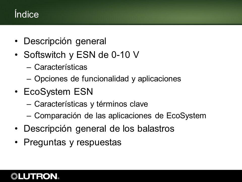 Índice Descripción general Softswitch y ESN de 0-10 V –Características –Opciones de funcionalidad y aplicaciones EcoSystem ESN –Características y térm