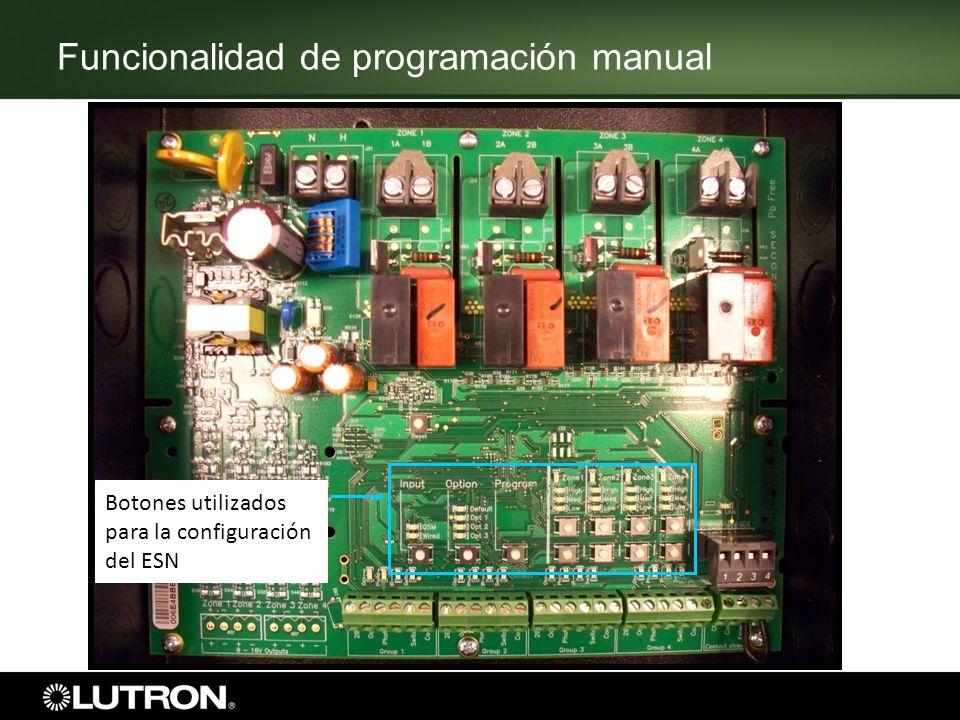 Funcionalidad de programación manual Botones utilizados para la configuración del ESN