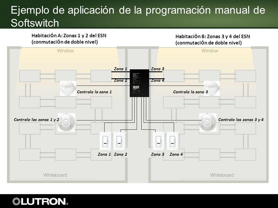 Ejemplo de aplicación de la programación manual de Softswitch Habitaci ó n A: Zonas 1 y 2 del ESN (conmutaci ó n de doble nivel) Habitaci ó n B: Zonas