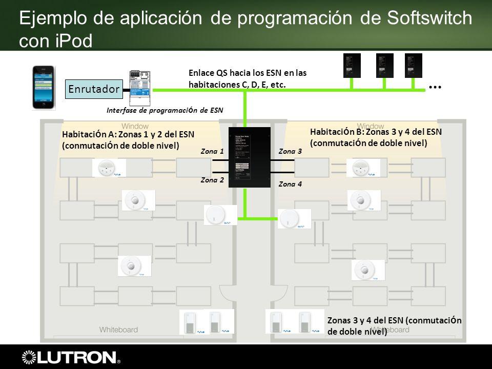 Ejemplo de aplicación de programación de Softswitch con iPod Zonas 3 y 4 del ESN (conmutaci ó n de doble nivel) Enlace QS hacia los ESN en las habitac
