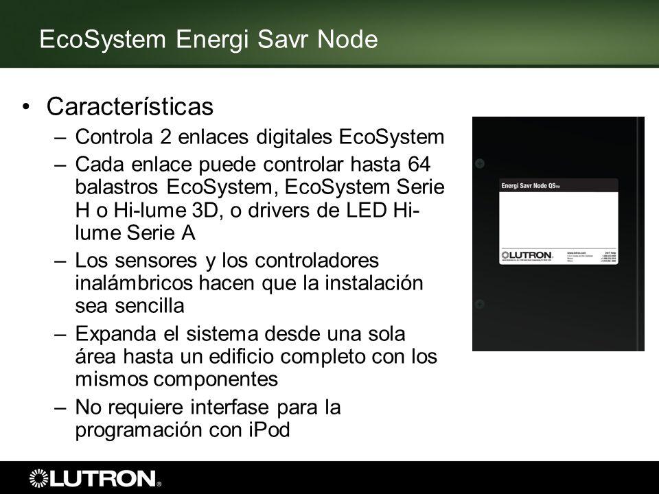 Características –Controla 2 enlaces digitales EcoSystem –Cada enlace puede controlar hasta 64 balastros EcoSystem, EcoSystem Serie H o Hi-lume 3D, o d