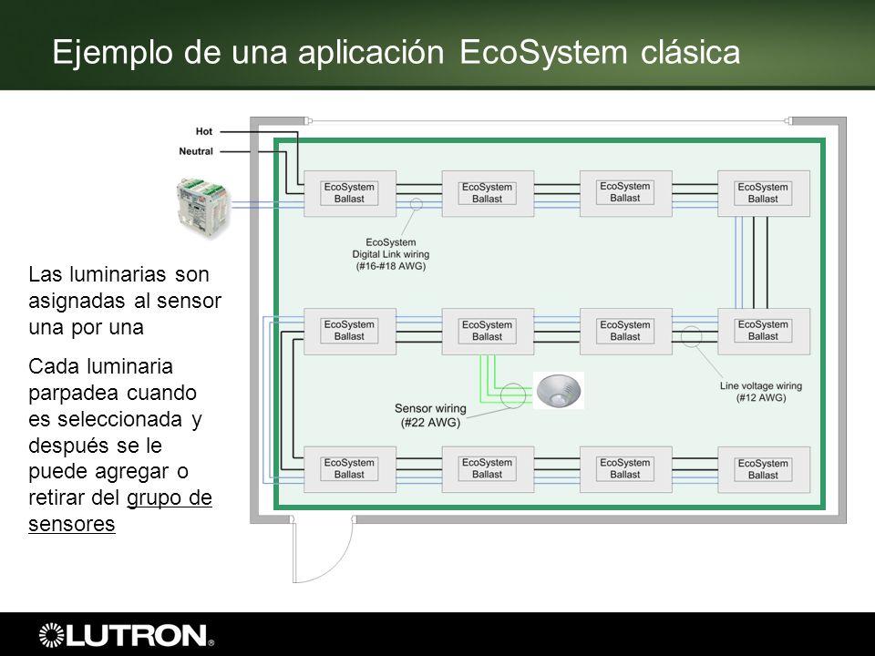 Ejemplo de una aplicación EcoSystem clásica Las luminarias son asignadas al sensor una por una Cada luminaria parpadea cuando es seleccionada y despué