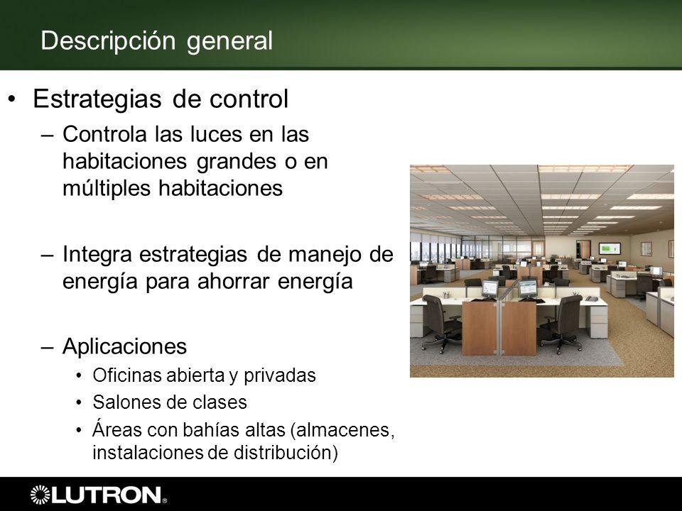 Descripción general Estrategias de control –Controla las luces en las habitaciones grandes o en múltiples habitaciones –Integra estrategias de manejo