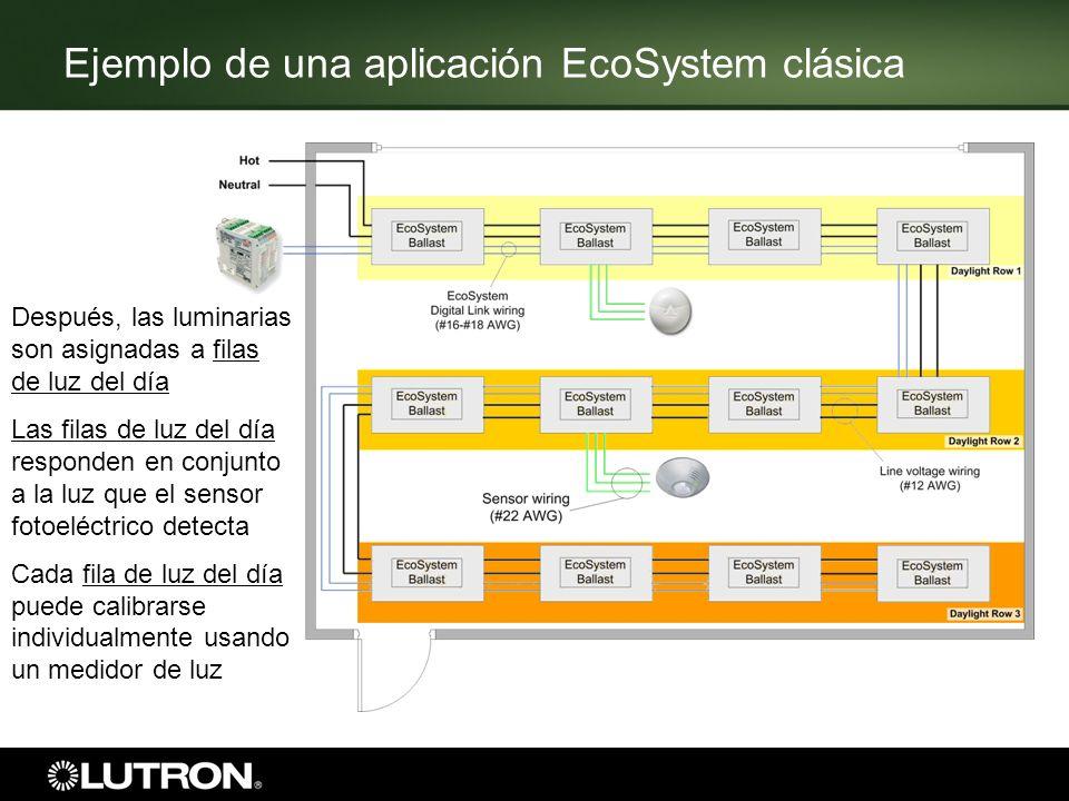 Ejemplo de una aplicación EcoSystem clásica Después, las luminarias son asignadas a filas de luz del día Las filas de luz del día responden en conjunt