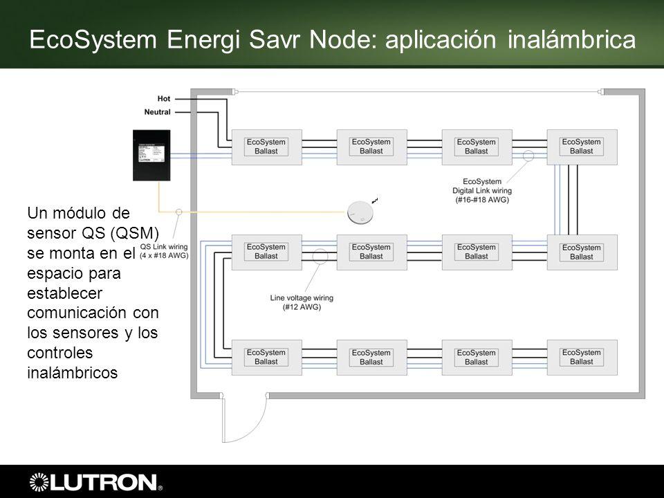 EcoSystem Energi Savr Node: aplicación inalámbrica Un módulo de sensor QS (QSM) se monta en el espacio para establecer comunicación con los sensores y