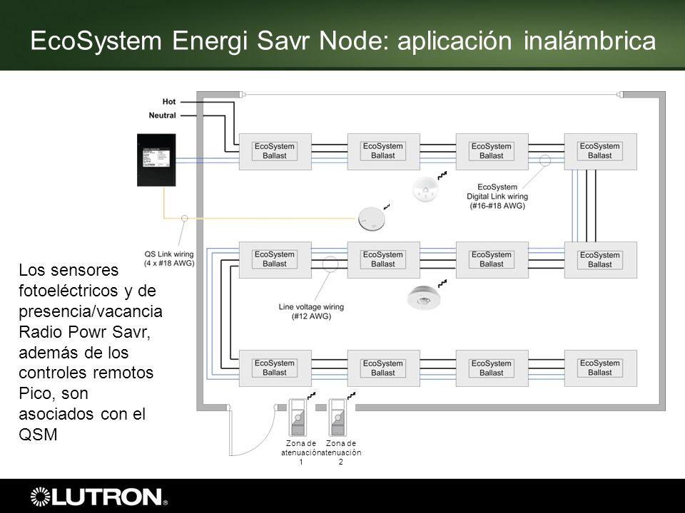 Zona de atenuación 1 Zona de atenuación 2 Los sensores fotoeléctricos y de presencia/vacancia Radio Powr Savr, además de los controles remotos Pico, s