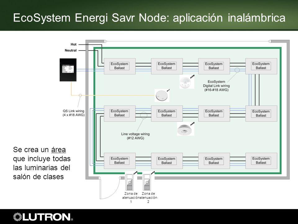 Zona de atenuación 1 Zona de atenuación 2 Se crea un área que incluye todas las luminarias del salón de clases EcoSystem Energi Savr Node: aplicación