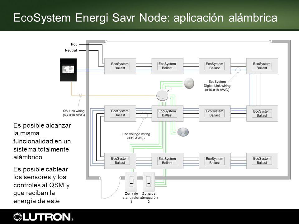 Zona de atenuación 1 Zona de atenuación 2 Es posible alcanzar la misma funcionalidad en un sistema totalmente alámbrico Es posible cablear los sensore