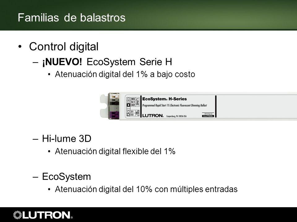 Familias de balastros Control digital –¡NUEVO! EcoSystem Serie H Atenuación digital del 1% a bajo costo –Hi-lume 3D Atenuación digital flexible del 1%
