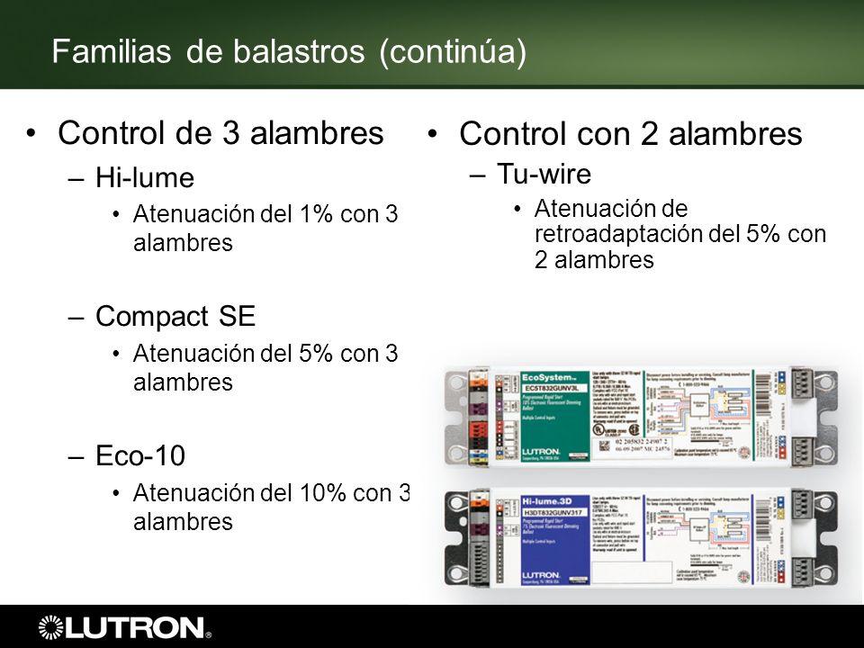 Familias de balastros (continúa) Control de 3 alambres –Hi-lume Atenuación del 1% con 3 alambres –Compact SE Atenuación del 5% con 3 alambres –Eco-10