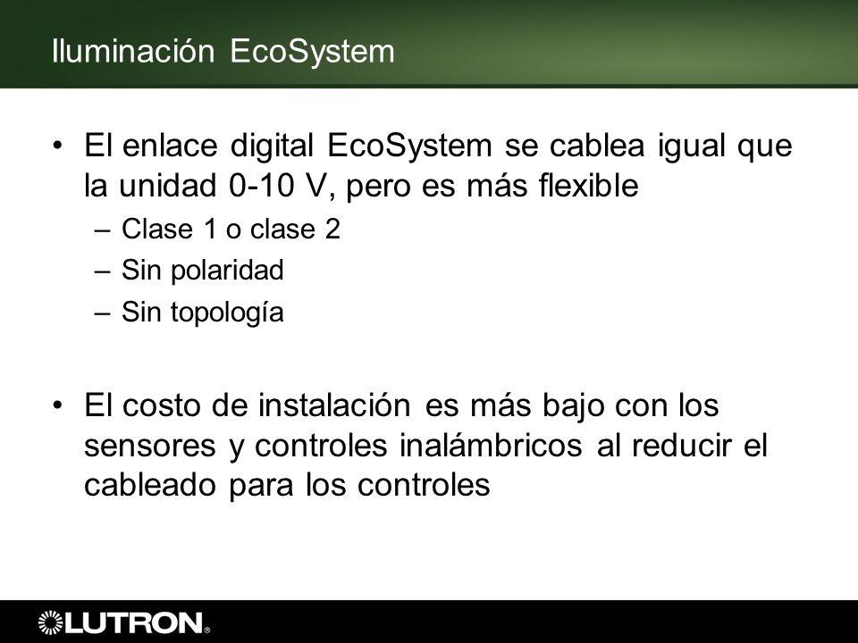 Iluminación EcoSystem El enlace digital EcoSystem se cablea igual que la unidad 0-10 V, pero es más flexible –Clase 1 o clase 2 –Sin polaridad –Sin to