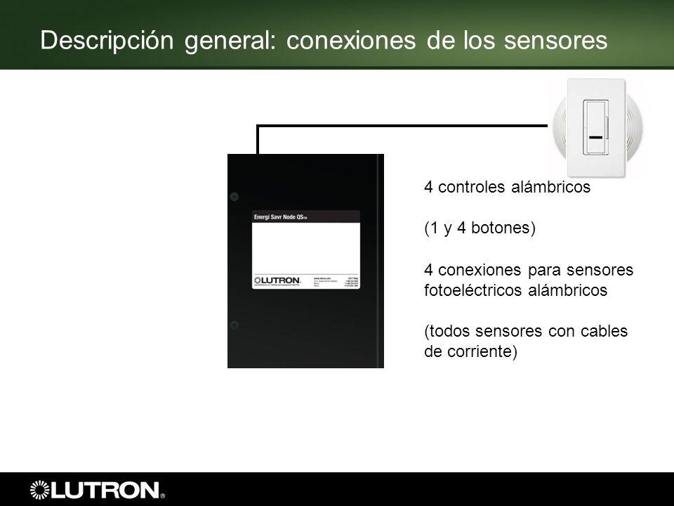 6 4 conexiones para sensores fotoeléctricos alámbricos (todos sensores con cables de corriente) 4 controles alámbricos (1 y 4 botones) Descripción gen