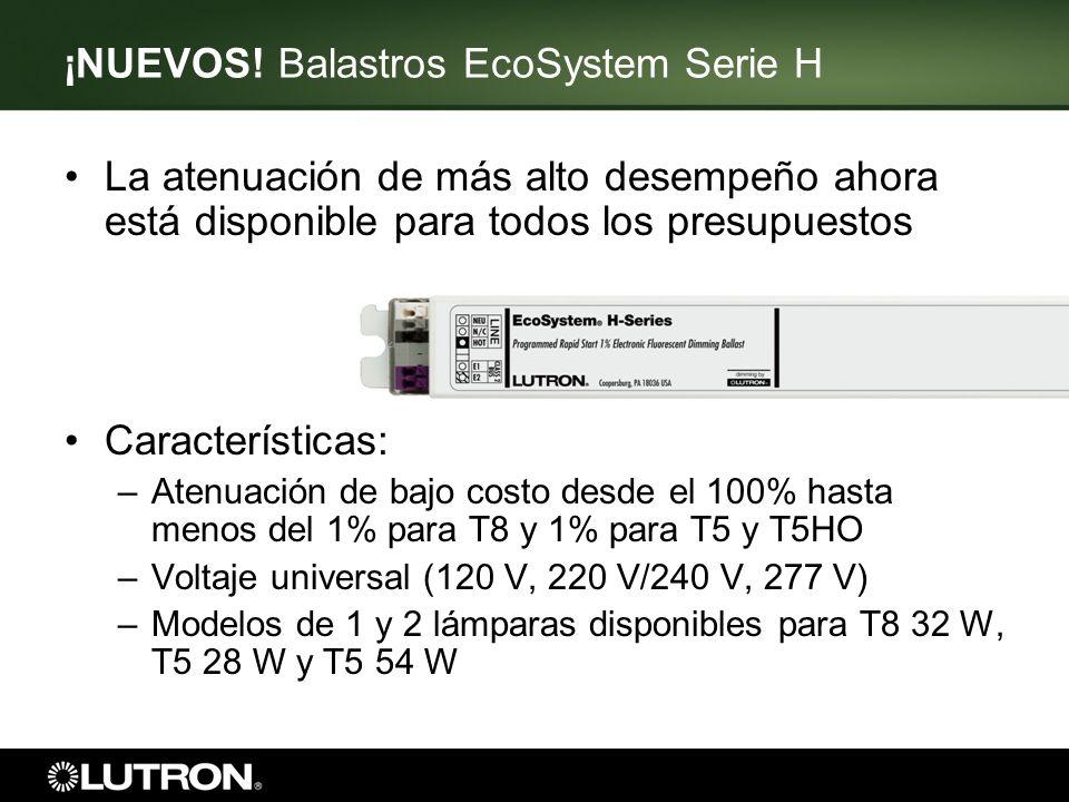 ¡NUEVOS! Balastros EcoSystem Serie H La atenuación de más alto desempeño ahora está disponible para todos los presupuestos Características: –Atenuació