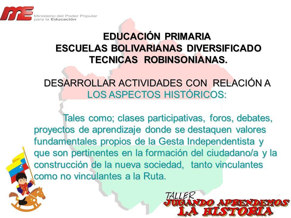 EDUCACIÓN PRIMARIA ESCUELAS BOLIVARIANAS DIVERSIFICADO ESCUELAS BOLIVARIANAS DIVERSIFICADO TECNICAS ROBINSONIANAS. TECNICAS ROBINSONIANAS. DESARROLLAR