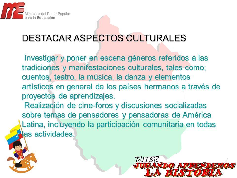 DESTACAR ASPECTOS CULTURALES Investigar y poner en escena géneros referidos a las tradiciones y manifestaciones culturales, tales como; cuentos, teatr