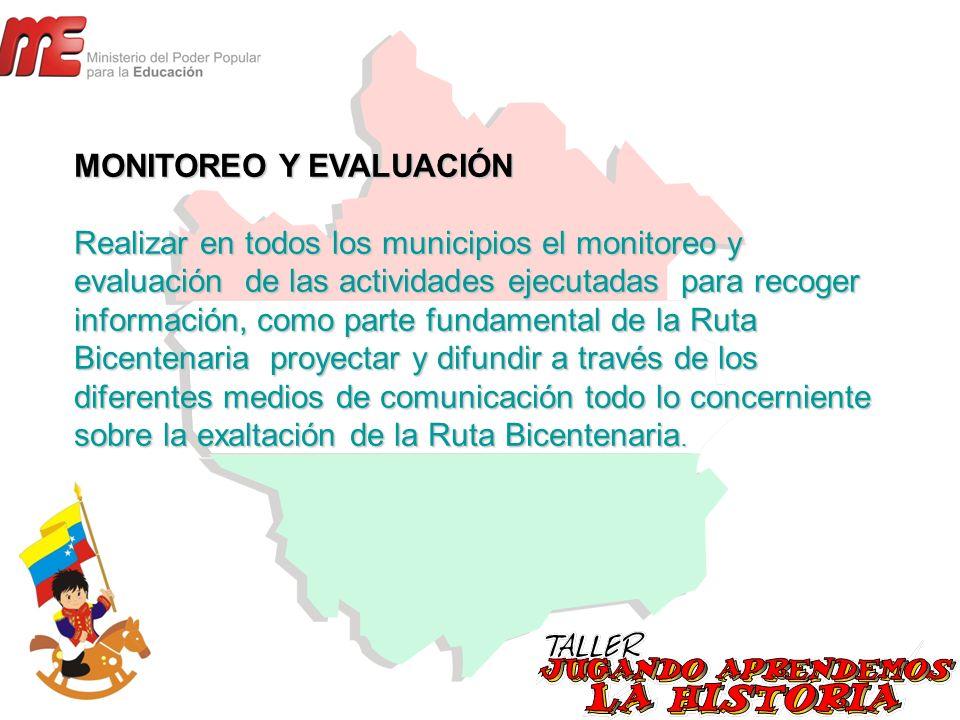 MONITOREO Y EVALUACIÓN Realizar en todos los municipios el monitoreo y evaluación de las actividades ejecutadas para recoger información, como parte f