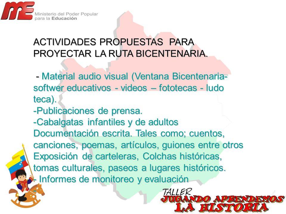 ACTIVIDADES PROPUESTAS PARA PROYECTAR LA RUTA BICENTENARIA. - Material audio visual (Ventana Bicentenaria- softwer educativos - videos – fototecas - l