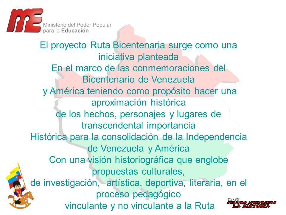 El proyecto Ruta Bicentenaria surge como una iniciativa planteada En el marco de las conmemoraciones del Bicentenario de Venezuela y América teniendo