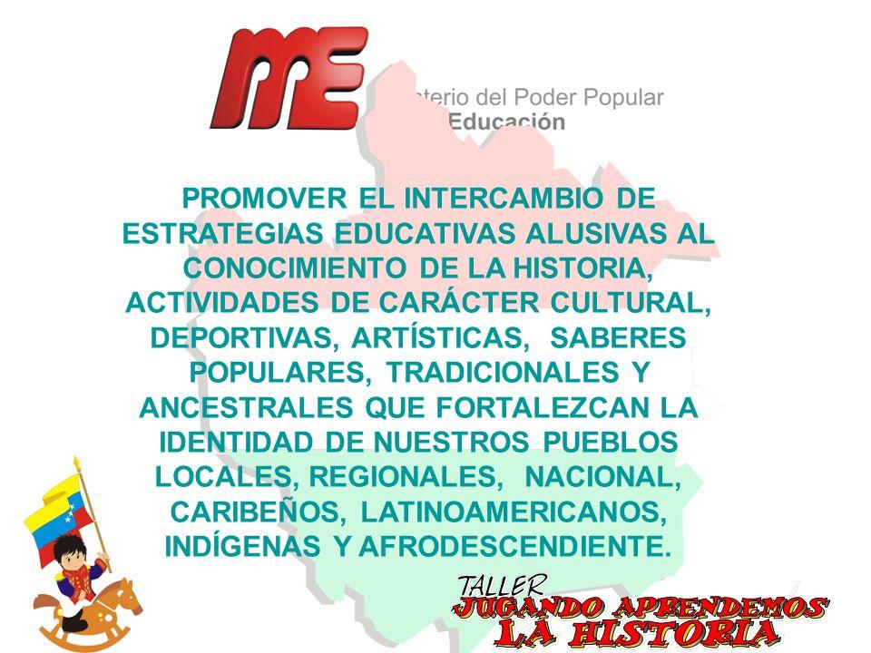 PROMOVER EL INTERCAMBIO DE ESTRATEGIAS EDUCATIVAS ALUSIVAS AL CONOCIMIENTO DE LA HISTORIA, ACTIVIDADES DE CARÁCTER CULTURAL, DEPORTIVAS, ARTÍSTICAS, S
