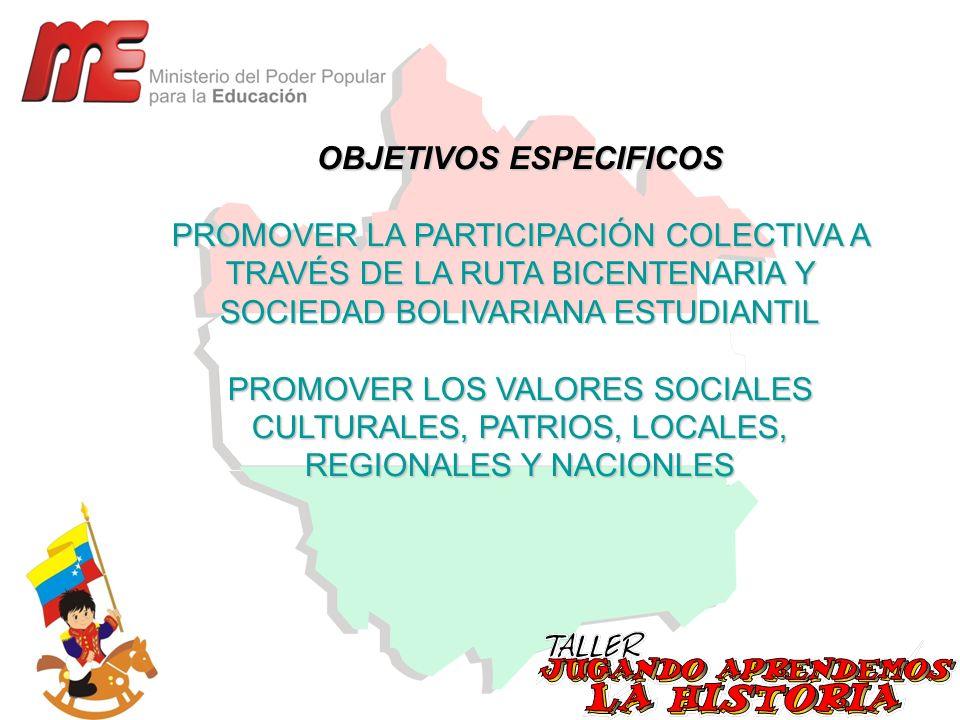 OBJETIVOS ESPECIFICOS PROMOVER LA PARTICIPACIÓN COLECTIVA A TRAVÉS DE LA RUTA BICENTENARIA Y SOCIEDAD BOLIVARIANA ESTUDIANTIL PROMOVER LOS VALORES SOC