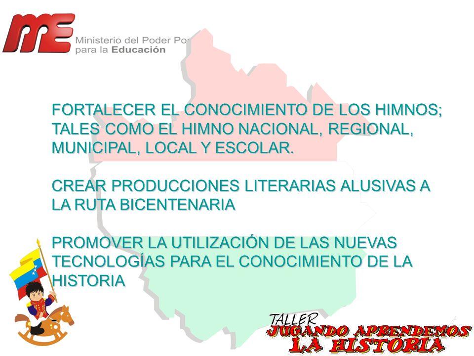 FORTALECER EL CONOCIMIENTO DE LOS HIMNOS; TALES COMO EL HIMNO NACIONAL, REGIONAL, MUNICIPAL, LOCAL Y ESCOLAR. CREAR PRODUCCIONES LITERARIAS ALUSIVAS A