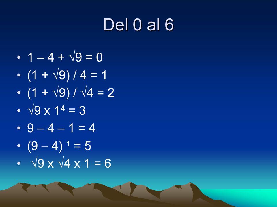 Del 0 al 6 1 – 4 + 9 = 0 (1 + 9) / 4 = 1 (1 + 9) / 4 = 2 9 x 1 4 = 3 9 – 4 – 1 = 4 (9 – 4) 1 = 5 9 x 4 x 1 = 6