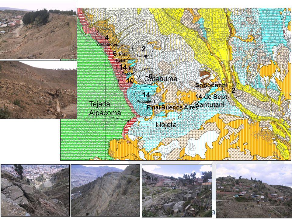 Eventos Identificados Áreas más Vulnerables en la ciudad de La Paz EVENTOPRINCIPALES AREAS AFECTADAS Inundaciones Áreas próximas a los Ríos Apumalla,