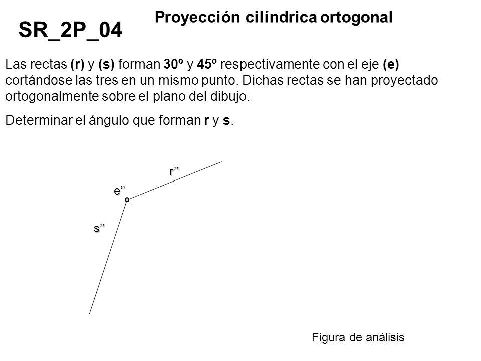 Las rectas (r) y (s) forman 30º y 45º respectivamente con el eje (e) cortándose las tres en un mismo punto. Dichas rectas se han proyectado ortogonalm