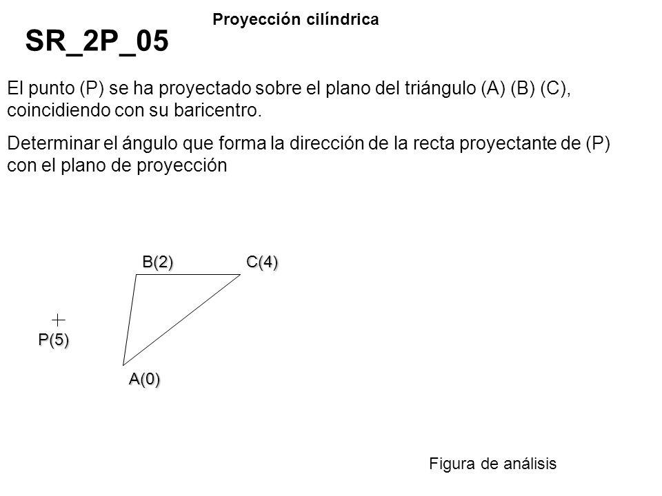 El punto (P) se ha proyectado sobre el plano del triángulo (A) (B) (C), coincidiendo con su baricentro. Determinar el ángulo que forma la dirección de