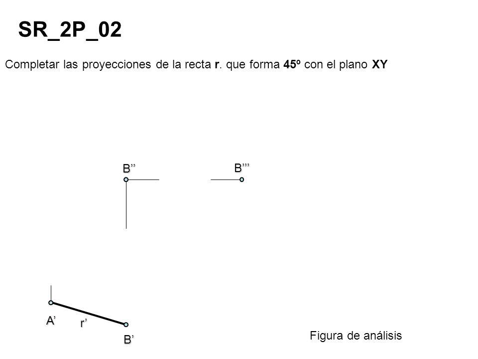 Completar las proyecciones de la recta r. que forma 45º con el plano XY SR_2P_02 Figura de análisis r A B B B