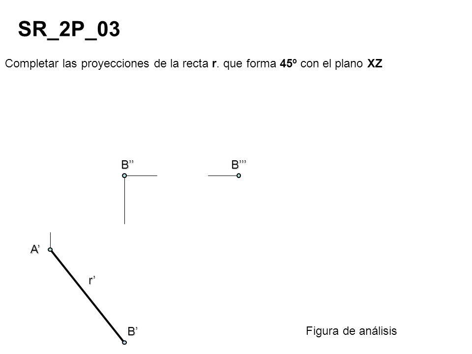 Completar las proyecciones de la recta r. que forma 45º con el plano XZ SR_2P_03 Figura de análisis r A B BB