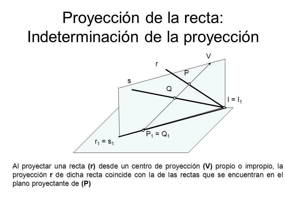 Proyección de la recta: Indeterminación de la proyección V P P 1 = Q 1 Q I = I 1 r s r 1 = s 1 Al proyectar una recta (r) desde un centro de proyecció