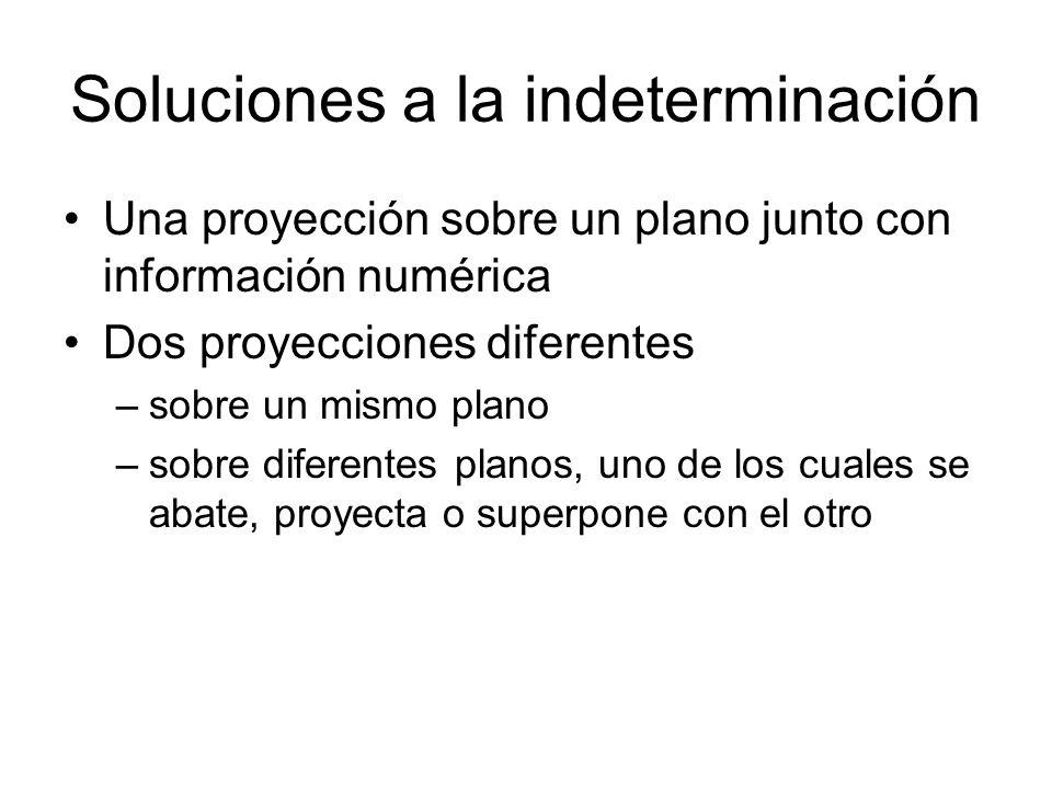 Soluciones a la indeterminación Una proyección sobre un plano junto con información numérica Dos proyecciones diferentes –sobre un mismo plano –sobre