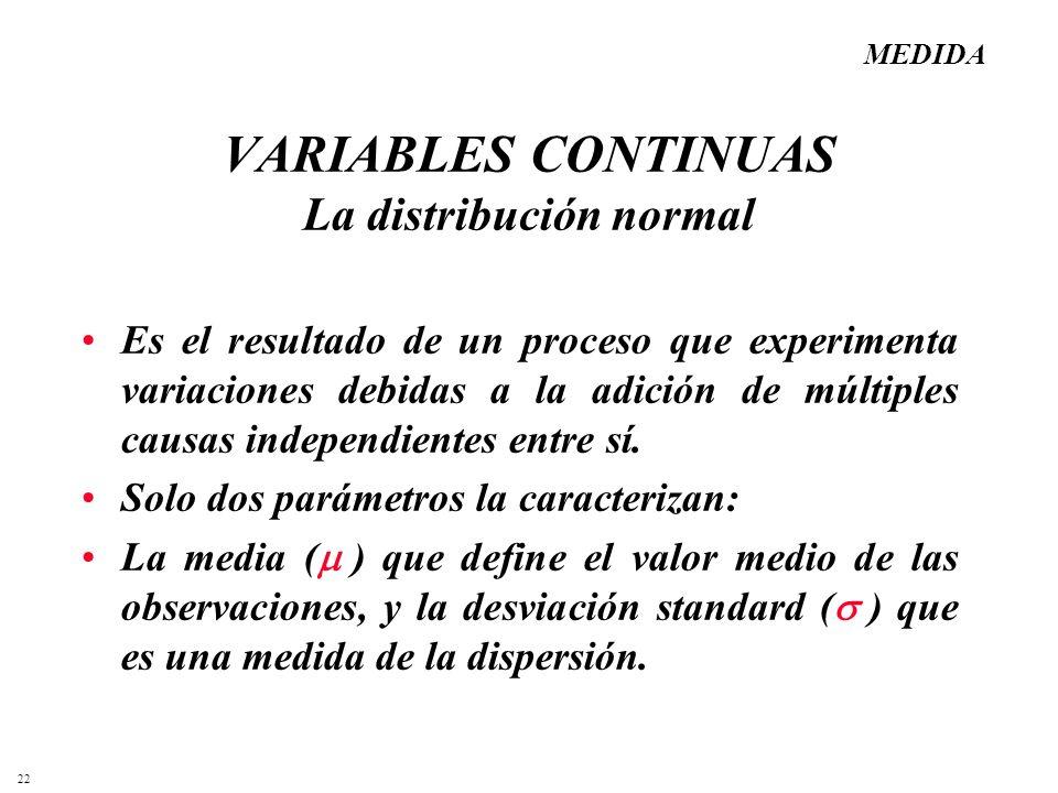 22 VARIABLES CONTINUAS La distribución normal Es el resultado de un proceso que experimenta variaciones debidas a la adición de múltiples causas indep