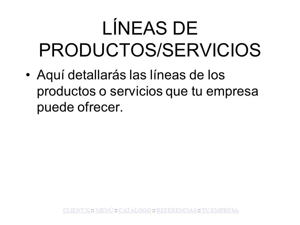 CATÁLOGO DE PRODUCTOS/SERVICIOS En esta parte de la diapositiva, entras a fondo producto por producto para cuando un cliente quiera conocer más detalles a nivel técnico.