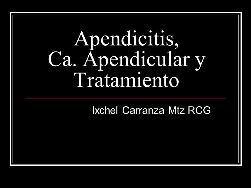 Apendicitis, Ca. Apendicular y Tratamiento Ixchel Carranza Mtz RCG