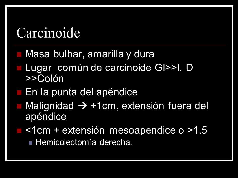 Carcinoide Masa bulbar, amarilla y dura Lugar común de carcinoide GI>>I. D >>Colón En la punta del apéndice Malignidad +1cm, extensión fuera del apénd