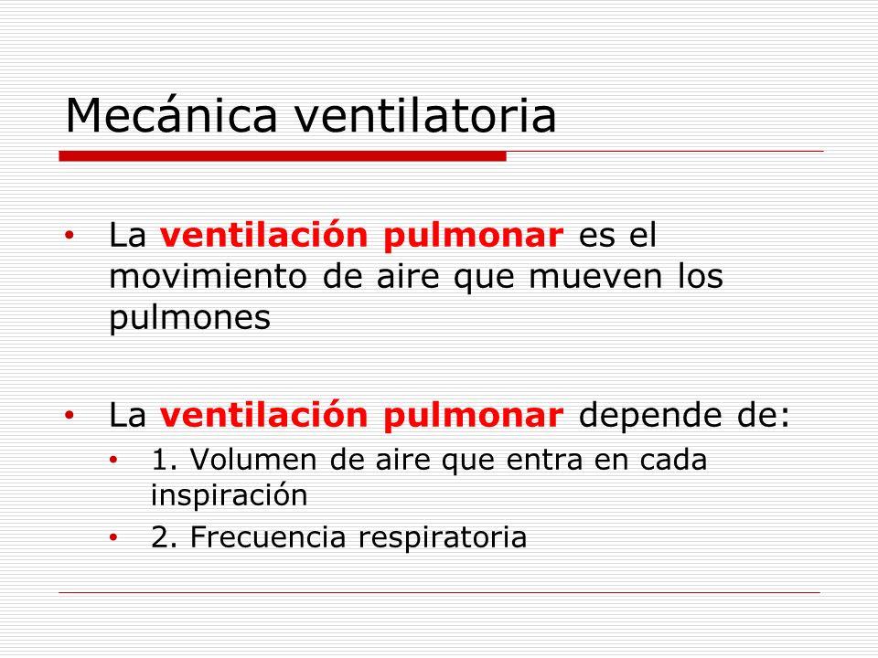 Mecánica ventilatoria La ventilación pulmonar es el movimiento de aire que mueven los pulmones La ventilación pulmonar depende de: 1. Volumen de aire