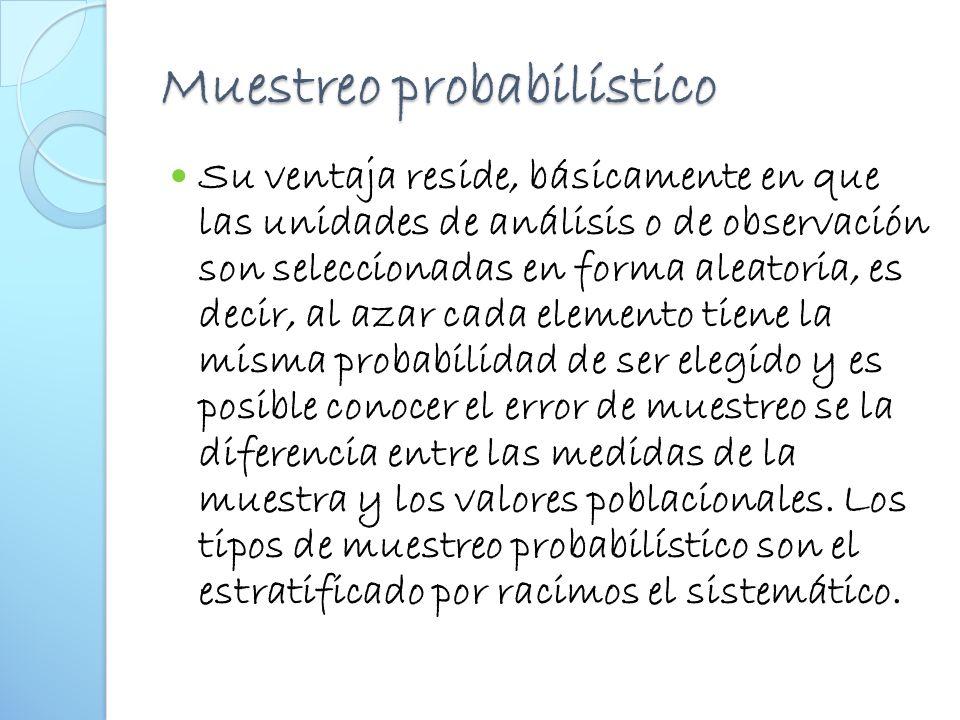 Muestreo probabilístico Su ventaja reside, básicamente en que las unidades de análisis o de observación son seleccionadas en forma aleatoria, es decir