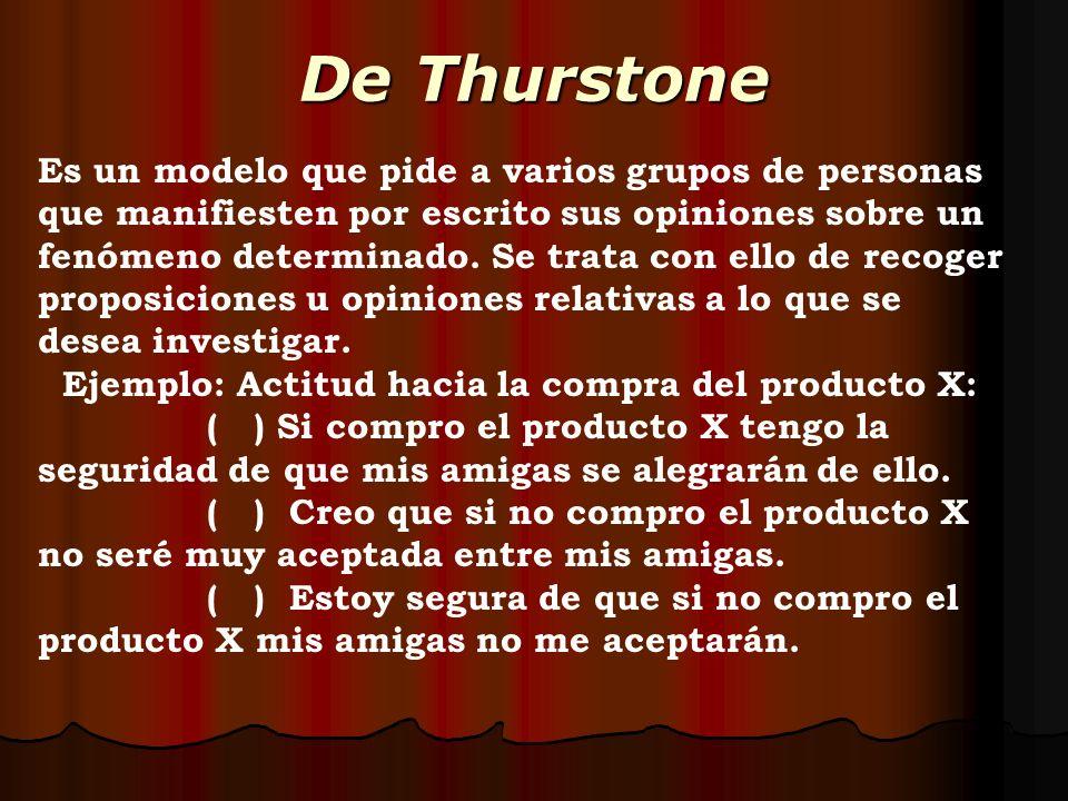 De Thurstone Es un modelo que pide a varios grupos de personas que manifiesten por escrito sus opiniones sobre un fenómeno determinado. Se trata con e