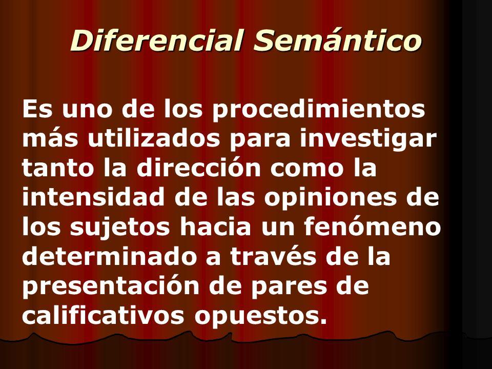 Diferencial Semántico Es uno de los procedimientos más utilizados para investigar tanto la dirección como la intensidad de las opiniones de los sujeto