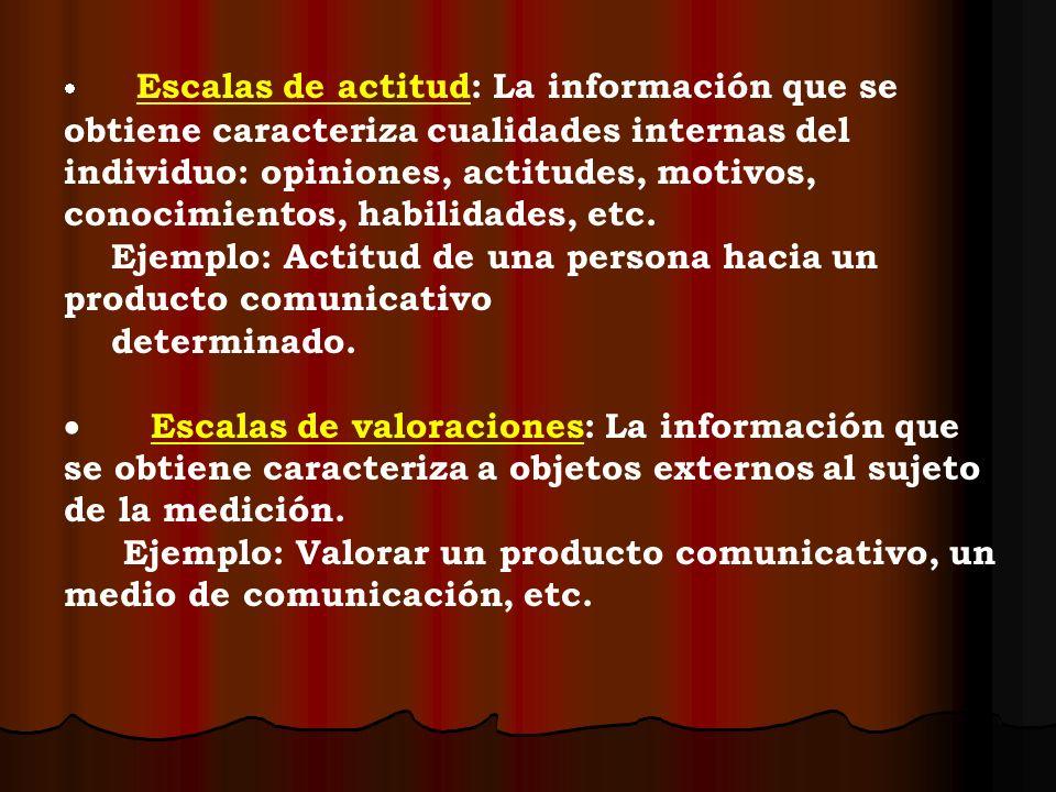 Escalas de actitud: La información que se obtiene caracteriza cualidades internas del individuo: opiniones, actitudes, motivos, conocimientos, habilid