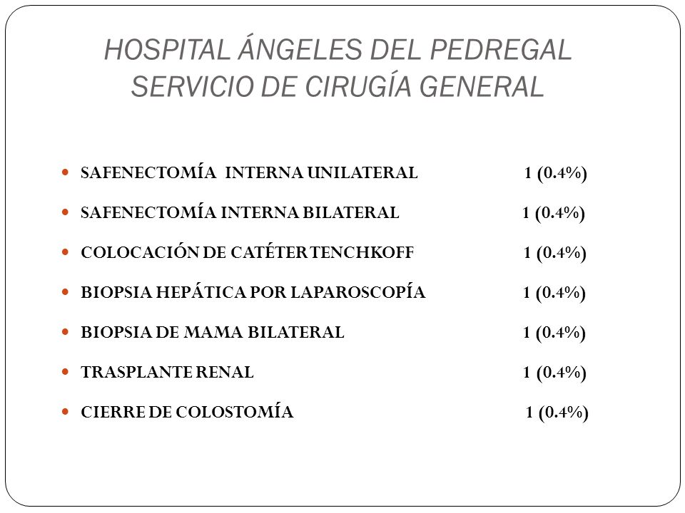 HOSPITAL ÁNGELES DEL PEDREGAL SERVICIO DE CIRUGÍA GENERAL SAFENECTOMÍA INTERNA UNILATERAL 1 (0.4%) SAFENECTOMÍA INTERNA BILATERAL 1 (0.4%) COLOCACIÓN