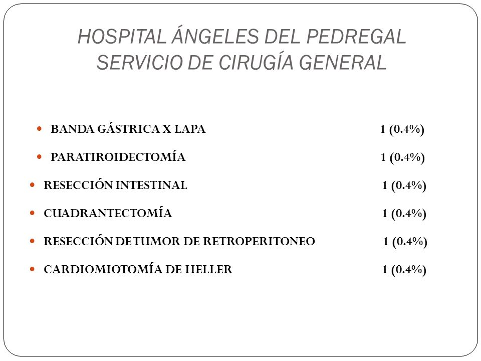 HOSPITAL ÁNGELES DEL PEDREGAL SERVICIO DE CIRUGÍA GENERAL BANDA GÁSTRICA X LAPA 1 (0.4%) PARATIROIDECTOMÍA 1 (0.4%) RESECCIÓN INTESTINAL 1 (0.4%) CUAD