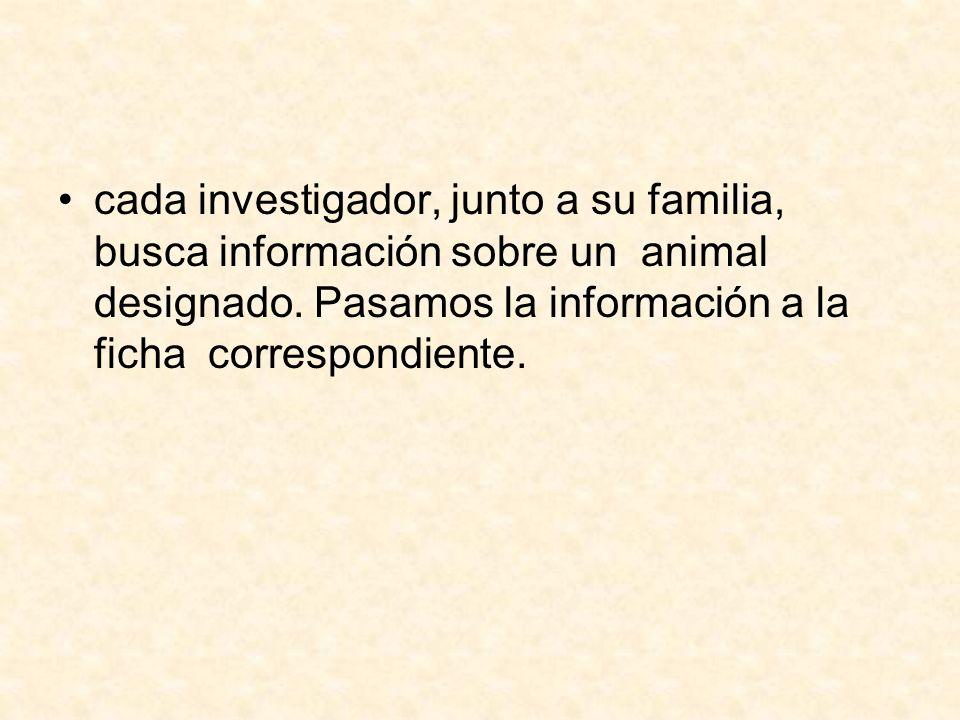 cada investigador, junto a su familia, busca información sobre un animal designado. Pasamos la información a la ficha correspondiente.
